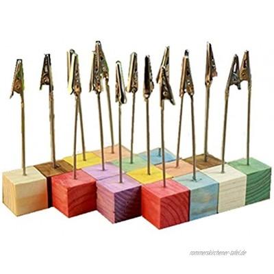 EXQULEG 18er Set Dekor Bunt Fotohalter-Ständer Bilderbuch Clip – Holz-Würfel für Memo-Clips und Name -Halter für Hochzeit Party Haus Dekoration
