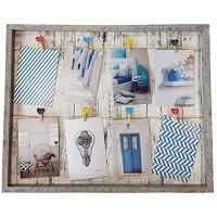 Spetebo Fotorahmen mit Leine 52x42 cm inkl. 8 Herz Klammern Bilderrahmen Foto Halter Galerie