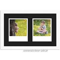 WANDStyle Rahmen für Polaroid-Bilder Serie H950 weiß gemasert Normalglas inkl. Passepartout schwarz für 2 Polaroids