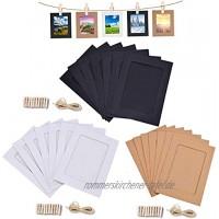 NOBBEE Papier-Bilderrahmen 10 x 15 cm aus Kraftpapier 30 Stück 10 Schwarz+10 Braun+10 Weiß