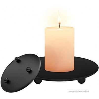 Navani Kerzenhalter,2 Stück Kerzenständer Schwarz  Rund Retro Kerzenständer Schwarz Metall