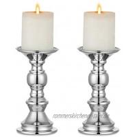 NUPTIO 2 Stück Silber Säule Kerzenhalter Hochzeit Mittelstücke Metall Kerzenhalter für 50mm Kerzen Stand Dekoration für Hochzeiten Besondere Ereignisse Partys Wohnzimmer Weihnachten Kerzenständer