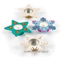 Baker Ross EX7082 Teelichthalter mit Sternen und Schneeflocken Sortiert