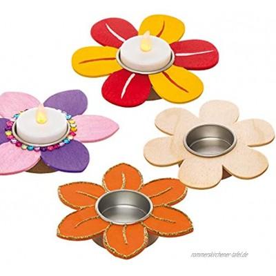 """Baker Ross Holz-Teelichthalter """"Blume"""" 4 Stück – Frühlings-Bastelidee für Kinder zum Verzieren und als Dekoidee"""