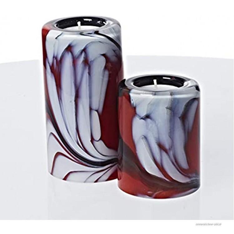 CRISTALICA Teelichthalter Gartenflair 2er-Set 9cm 13cm rot weiß schwarz