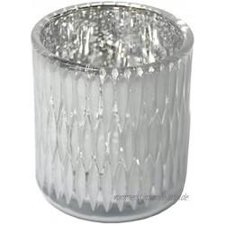Dadeldo Home Teelichthalter -Glamour- Glas 9x8cm Weiss-Silber