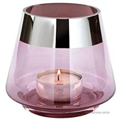 FINK JONA Teelichthalter Glas Hellrosé H: 13cm x Ø 15cm
