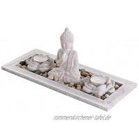 levandeo Deko Tablett Buddha Beton Lotusblüte Teelichthalter Kerzenhalter Tischdeko Holztablett Lotus Teelicht