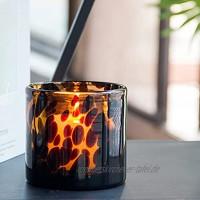 MJ PREMIER Teelichthalter D10x H10 cm Windlicht aus Glas Leopard Teelichtgläser Braun Kleine Vase Glas Deko für Wohnzimmer Hochzeit Party Deko Wohnaccessoire,Braun