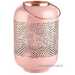 Butlers Emilie Laterne H?he 30cm in Ros? und Bronze Orientalisches Windlicht aus Metall mit Ornamenten Kerzenlaterne
