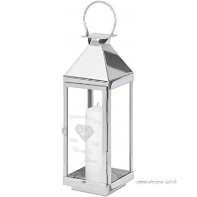 Cilio Laterne Diamanthochzeit mit Gravur 60 cm: Silberfarbene Glaslaterne personalisiert mit Namen und Datum in Vier Größen Geschenkidee zum 60. Hochzeitstag
