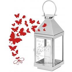 Geschenke 24: Laterne mit Schmetterlingen und Gravur Höhe 45 cm gravierte Edelstahllaterne Cilio Laterne personalisiert
