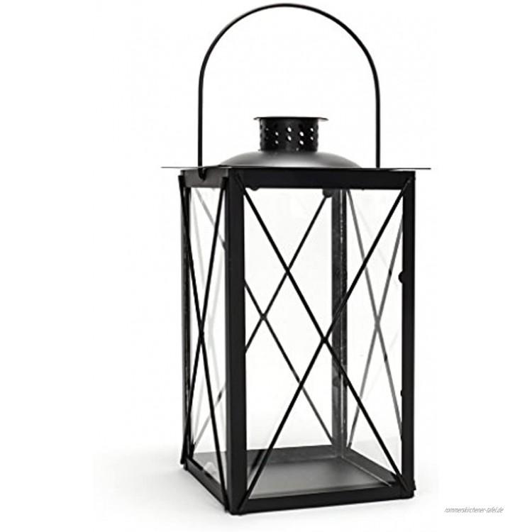 levandeo Laterne aus Metall und Glas Windlicht Farbe schwarz Tischlaterne Kerzenhalter Kerzenständer Gartenlaterne Gartenbeleuchtung Dekoration
