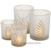 Boltze 2X Windlicht Narino Glas Höhe 8-10 cm matt Tischdeko Geschenk Beleuchtung
