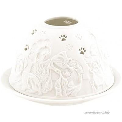 Porzellan-Teelicht-Windlicht Starlight Nr.447 Hund mit Tatze unterbrochen Lithophanie weiß