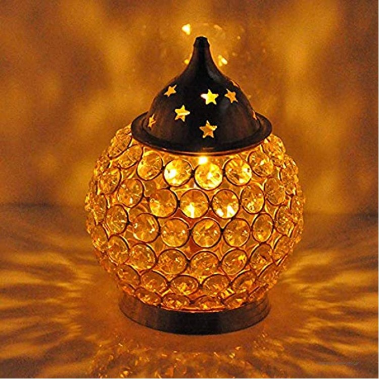 Hashcart Magische Meditations-Öllampe aus Messing von Handicrafts Diya-Messinglampe Puja-Lampen.
