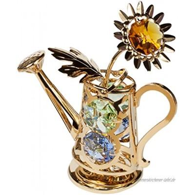 Gießkanne Kristall Glas Figur 24k goldüberzogen Made with Swarovski Elements