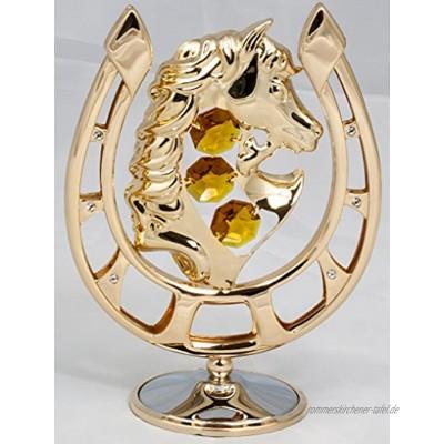 Hufeisen mit Pferd gold überzogen Figur Statur Kristall Glas MADE WITH SWAROVSKI ELEMENTS goldfarben