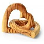 KASSIS Olivenholz Verbundene Herzen schönes Geschenk für Hochzeit Valentinstag Jubiläum Geburtstag 5 cm Handarbeit mit schöner Maserung