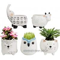 LA Jolie Muse Sukkulenten Pflanzentöpfe – Süßes Tier Set aus Keramik Kuh Katze Elefant Fuchs Eule Heimdeko Weihnachten Geschenk