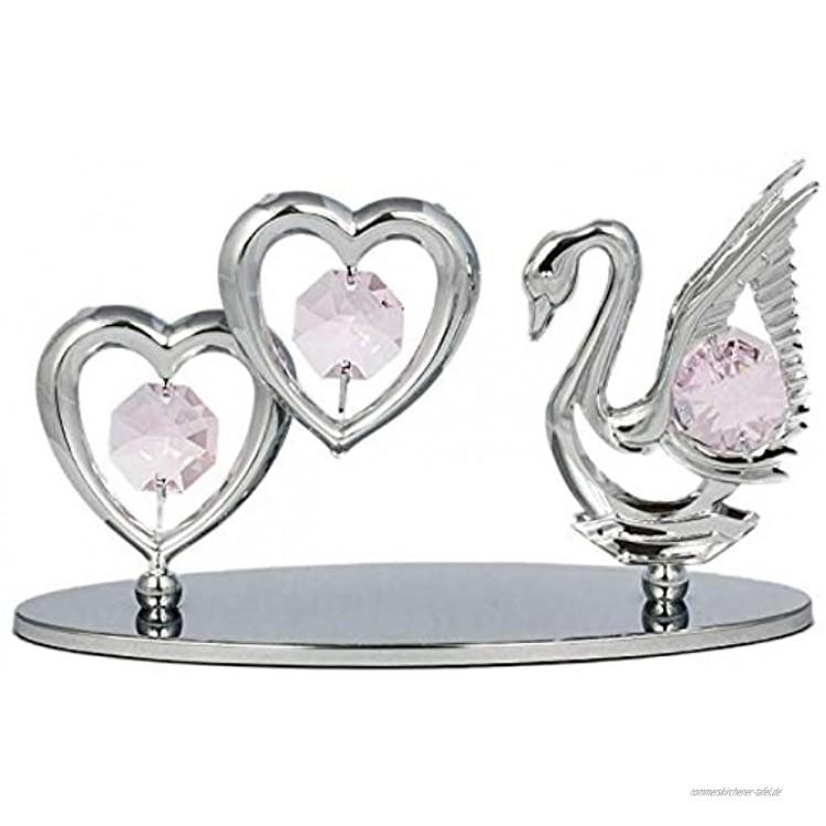 Rieser Interieur Schwan mit 2 Herzen Figur Statur Chrome überzogen mit Kristall Glas Made with Swarovski Elements