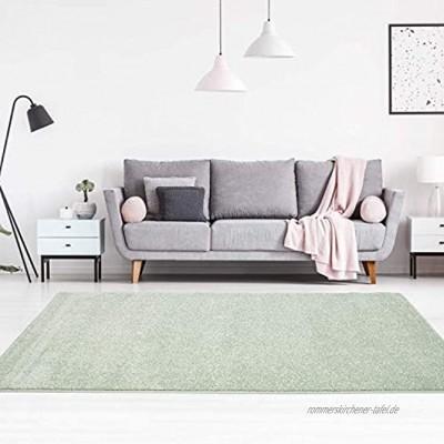 carpet city Teppich-Läufer Einfarbig Uni Flachfor Soft & Shiny in Grün für Wohnzimmer; Größe: 80x150 cm