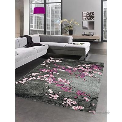 CARPETIA Designer Teppich Kurzflor Blumen grau pink rosa Größe 160x230 cm