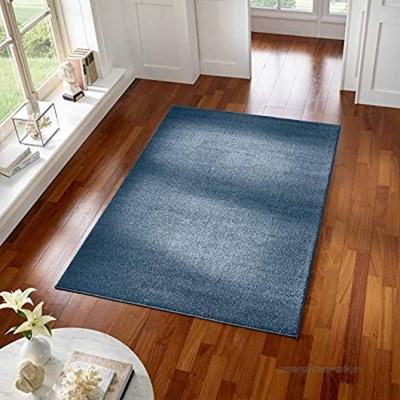Taracarpet Teppich Kurzflor modern für Wohnzimmer Schlafzimmer und das Kinderzimmer super weich und Öko Tex Zertifiziert dunkelblau 080x150 cm