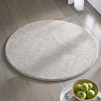 Teppich Wölkchen Kurzflor Teppich I Flauschige Flachflor Teppiche fürs Wohnzimmer Esszimmer Schlafzimmer oder Kinderzimmer I Einfarbig I Grau 120 rund