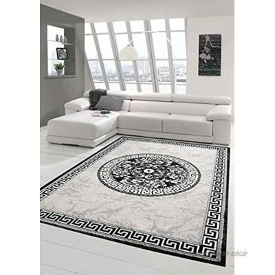 Traum Moderner Teppich Designer Teppich Orientteppich mit Glitzergarn Wohnzimmer Teppich mit Bordüre und Kreismuster in Grau Anthrazit Creme Größe 160x220 cm