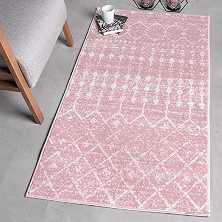 Wayshine Kurzflor Vintage Teppich für Wohnzimmer Schlafzimmer Küche Flur Größe: 80x150 cm Orientalisch Teppichläufer Rosa