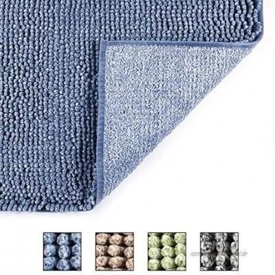 Cosy HOMMER Chenille Badematte 50×80cm Badezimmerteppich rutschhemmend beschichtet Flauschiger Microfaser Badteppich Schnell Wasseraufnahme und trocknen Maschinenwaschbar 30°C blau