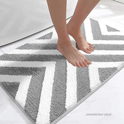 DEXI Badematte 50 x 80 cm,Badezimmerteppich rutschfest Weicher Badvorleger,Badteppich für Badewanne,Dusche und BadezimmerHellgrau