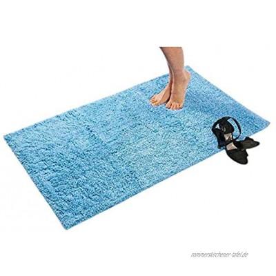 etérea Badteppich Baumwolle 60x60 cm Hochflor Badematte Phil weicher und Flauschiger Badezimmerteppich waschbarer Duschvorleger Badvorleger in Hellblau