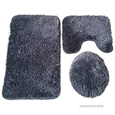 Hacoly Polyester Badematte Set 3 teilig rutschfeste badematten Set weich saugfähig Badteppich Radvorleger+U-förmige Rug+WC-Abdeckung Dunkelgrau
