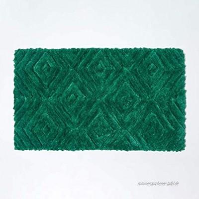 Homescapes Badematte rutschfest waschbarer Ikat Badteppich 100% Baumwolle und Mikrofaser Antirutsch Badvorleger mit geometrischem Muster großer Duschvorleger 50 x 80 cm grün