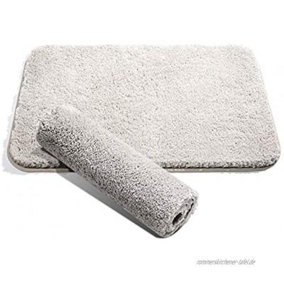 LIBWYS Badematte Rutschfester Badeteppich 50 * 80cm Flauschige Badematte und Badvorleger für Dusche Badewanne und Toilette Fußbodenheizung und Trockner geeignet Hellgrau
