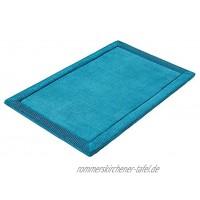 PANA Memoryschaum Badematte in versch. Farben • Badteppich aus weichen Mikrofasern rutschfest & waschbar • Duschvorleger 60 x 90 cm • Farbe: Petrol