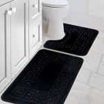 Pauwer Badematten set 2 Teilig Rutschfeste Badematten und WC Vorleger Waschbar Badteppich für Badezimmer Schwarz