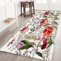 CONICIXI Teppich Läufer,Blumenmuster mit verschiedenen Pflanzen Badteppich Flurläufer Teppiche Anti Rutsch Wohnzimmer Küche Schlafzimmer Fußmatte Innenbereich Waschbar 60x180cm