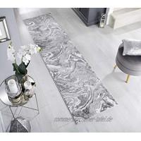 - LordOfRugs Eris Läufer modern abstrakt metallisch weich natürlich und silberfarben 60 x 230 cm
