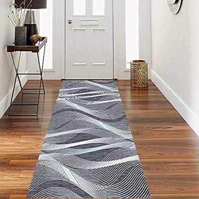 Luxury Teppich Flur Teppichläufer Flur Küchenteppich rutschfest Waschbarer Teppich Küche Wohnzimmer Flur-Teppich Läufer Lang Meterware Anpassbar Wellen Anthrazit Grau