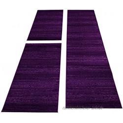 SIMPEX Bettumrandung Läufer Teppich Kurzflor Einfarbig Läuferset 3 teilig Schlafzimmer Flur Meliert Violet Lila Bettset:2x80x150+1X80x300