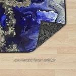Teppich Flur Teppich Läufer Flur rutschfest Waschbar Blau Golden Schwarz Küchenteppich Läufer Meterware Flurteppich Läufer Lang Bunt Flickenteppich Küche Wohnzimmer Benutzerdefinierte Länge 60X180CM