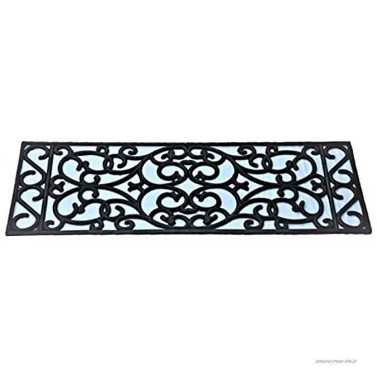 5 Stck Stufenmatte Scala schwarz Jet-Line Relief Rutschfeste Gummimatte 25x75 cm Ornament Treppe außen outdoor Antirutsch Matte Gummi Garten Terrasse Balkon Außentreppe