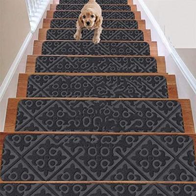 D L D Teppich-Stufenmatten Set mit 7 rutschfesten Gummi-Läufermatten oder Teppichmatten – für den Innen- und Außenbereich – rutschfeste Treppenteppiche grau 20,3 x 76,2 cm inklusive Klebeband