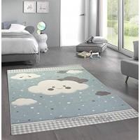 CARPETIA Teppich Kinderzimmer Kinderteppich Wolken blau Größe 120 cm Rund