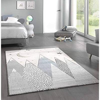 CARPETIA Teppich Kinderzimmer mit Bergen Pastell blau grau Größe 80x150 cm