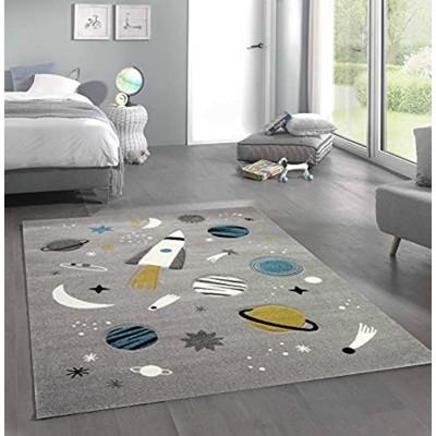 CARPETIA Teppich Kinderzimmer Weltraum Rakete Planeten grau blau Größe 80x150 cm