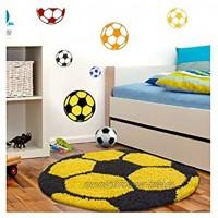 Kinderteppich für Kinderzimmer Fussball Form Hochflor Teppich Gelb-Schwarz 120x120 cm Rund